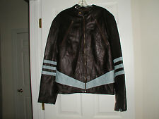 Ultimo fine Italian Nappa leather jacket Brown with Light Blue Trim Zipper