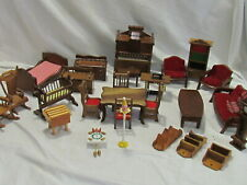 BVintage Wooden Dollhouse Furniture Lot of 26 Assorted Pieces & Accessories