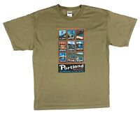 Gildan Portland Oregon BridgeTown Historic Graphic Green Short Sleeve T Shirt L