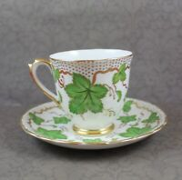 Vintage Royal Chelsea English China Green & Gold Gilt Leaf Demitasse Tea Cup
