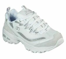 Womens Skechers D'Lites White Leather Lace Up Sporty Shoes Trainers Size UK 6 39