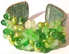 30x Chrysopras 20x Perlen auf Silber breite Armspange verstellbar GREEN PEARL