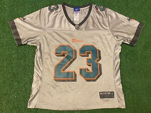 Ronnie Brown #23 Miami Dolphins NFL Silver Reebok Football Jersey Youth Size M