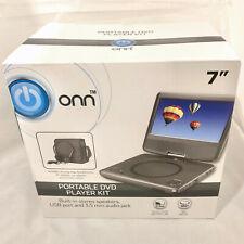 """ONN Portable DVD Player Kit~7""""Screen~180º Swivel~Buit-In Stereo Speakers~"""