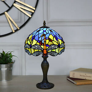 NEW TIFFANY TABLE LAMP WITH DRAGONFLY DESIGN 10 INCH LAMP BEDSIDE BEDROOM LAMP