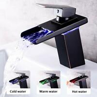 LED Oil Rubbed Bronze Bathroom Waterfall Spout Sink Faucet Vanity Countertop Tap