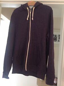 Burton Menswear Purple Fleeced Lined Hoodie Large
