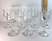 Avon Cordial Wine Glass Lot of 7 Clear Swirl Votive T Light Candle Holder Party