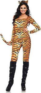 Leg Avenue Women's 2 Piece Wild Tigress Catsuit Small / Medium, Orange/Black