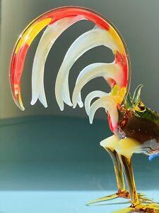 Vintage Beautiful Cockerel Rooster Glass Murano Pirelli Glass Ornament 11cm H