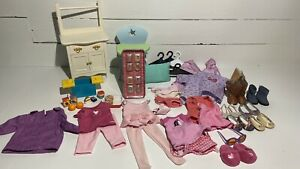 American Girl Doll Clothing & Accessories Lot Shoes Cloths Desk Nightstand