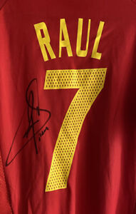 RAUL Signed Spain Shirt *SEE PROOF* Real Madrid Autograph Jersey