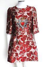 DOLCE & GABBANA Red Floral Jacquard Embellished Mini Dress IT 40 uk 8  £4,206