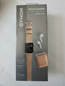 Nomad Modern Bundle Leather Watch Strap for Apple Watch 38mm 40mm AirPods Case