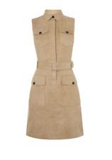 Karen Millen -- Faux Suede Safari Shirt Dress - Beige - New With Tag - Size 14