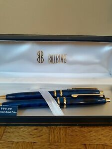 Vintage Bill Blass Pen And Mechanical Pencil Boxed Set Gold/Blue Tone