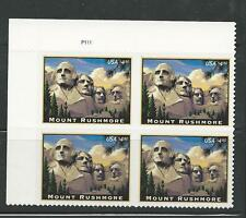 2008 #4268 Mount Rushmore Priority Mail Stamp P# Block of 4 Mint NH