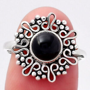 Natural Black Onyx - Brazil 925 Sterling Silver Ring s.7.5 Jewelry E917