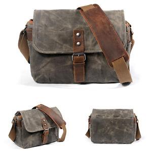 Waterproof Canvas Leather Trim DSLR SLR Camera Messenger Shoulder Bag 3 Colors