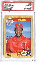 1987 Topps All-Star Baseball Card_#598 Ozzie Smith_PSA GEM MINT 10_HOF_Cardinals