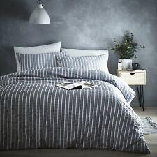 Dante Woven Textured Stripe Grey Polycotton Quilt Cover Duvet Set Bedding Linen