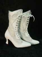 Oak Tree Farms White Lace and Leather Vesper Old West Granny Vintage Boots NEW