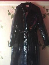 Warehouse uk12 Dark Blue brevet Vinyle trench coat long new with tags