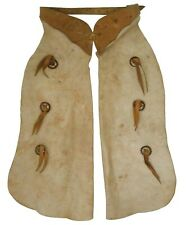 Rare Early 20Th C American Vint Western Cowboy/Cowgirl Putty White Leather Chaps
