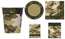 MILITARY CAMOUFLAGE PARTY PLATES NAPKIN TABLE COVER LOOT BAGS COMPLETE PARTY KIT