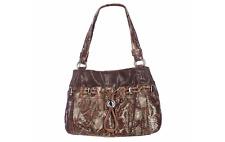 B Makowsky BRIANNA Snake Embossed Drawstring Shopper Shoulder Bag Espresso Brown