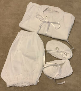 Baby Boys White Christening Baptism 4 Piece Outfit Including Shoes 3 months #K6