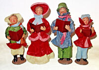 """Vintage Victorian Dickens Christmas Carolers set of 4 paper mache 12"""" tall"""
