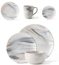 12pc Dinner Set HandPainted Dining Plates Bowls Marble Effect Crockery Stoneware
