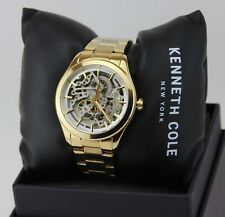 NEW AUTHENTIC KENNETH COLE GOLD SKELETON AUTOMATIC LADIES WOMEN'S 10025927 WATCH