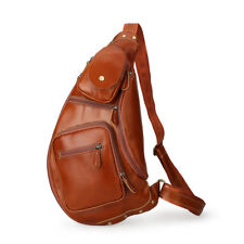 New Large Brown Men's Leather Sling Backpack Shoulder Bag Bike Sport Chest Pack