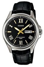 Casio MTP1377L-1A Men's Standard Leather Band 100M Day Date Black Dial Watch