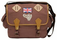 GOLA DILLON RETRO VINTAGE BURGUNDY CANVAS SATCHEL SCHOOL COLLEGE SHOULDER BAG