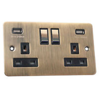 Antique Brass 13A Flat/USB/TV/HDMI/Light Switches/Dimmers/Audio/TV/Cooker/FCU