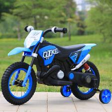 MOTO ELETTRICA PER BAMBINI MOTO CROSS RUOTE GONFIABILI 6V BLU CON LUCI E MP3