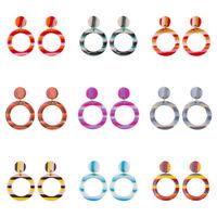 Fashion Women Acrylic Geometric Round Statement Dangle Drop Earrings Jewelry