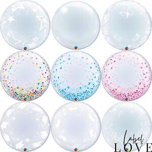 "Qualatex 24"" Clear Deco Bubble Balloon x1 Party Balloons Air or Helium Birthday"
