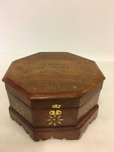 Vintage  8'' octagon shape brass floral inlay jewelry box,trinket  India
