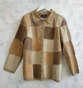 CASUAL & CO 100% Suede Leather Patchwork Autumn Native American Jacket Coat Med