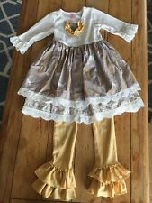 Giggle Moon Size 6 Outfit Snow Woodland Deer Gold Mustard Yellow Ruffle Pants