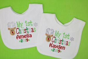 Personalised 1st 2nd Christmas Xmas Baby Bib Choice of colours first or Merry