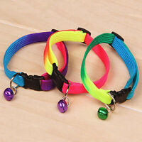 Rainbow Color Adjustable 24-34 cm Collar with Small Bell Pet Cat Dog Puppy -