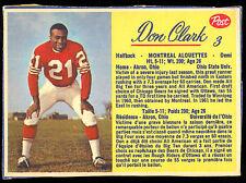 1963 POST CFL FOOTBALL #3 DON CLARK EX-NM MONTREAL ALOUETTES OHIO STATE UNIV