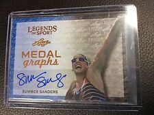 2015 Leaf Legends of Sport Summer Sanders Medal Graphs auto Autograph