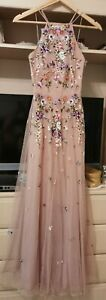 Asos bridesmaid dress Tulle Floral Embellishments Size 4 6 XS Pink
