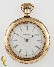 Elgin Open Face 14K Yellow GF Antique Pocket Watch Gr 117 6S 17 Jewel 1897